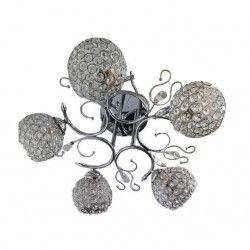 Lustra Julia 6133/5 rotund 5e27 schelet inox abajur semitransparent cristal Corpuri de iluminat
