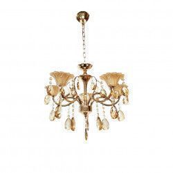 Lustra Julia 8019/5 schelet auriu metal sticla si cristal 5e14 inaltime ajustabila Corpuri de iluminat