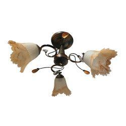 Lustra sfy 8930/3 3e27 60w schelet maroniu cu galben abajur alb cu bej Corpuri de iluminat