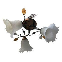 Lustra sfy 8930/3 3e27 60w schelet maroniu cu galben abajur alb Corpuri de iluminat