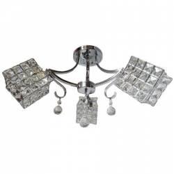 Lustra Rich 101803 rotund 3e27 schelet inox abajur semitransparent cristal Corpuri de iluminat