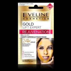 Masca luxurianta de fata Eveline Cosmetics Gold Lift Expert 3 in 1 antirid cu aur de 24K Masti, exfoliant, tonice