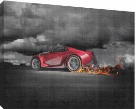 Masina in flacari 2 - Tablou canvas - 52x70 cm Tablouri