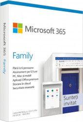 Microsoft 365 Family, Romana, Subscriptie 1 an, 6 utilizatori, Medialess Retail 6GQ-01163