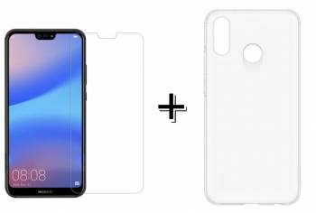Pachet Folie Sticla + Husa silicon transparenta Huawei P20 LITE