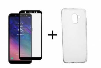 Pachet Folie Sticla Full Glue Negru + Husa silicon transparenta Samsung Galaxy A6 2018