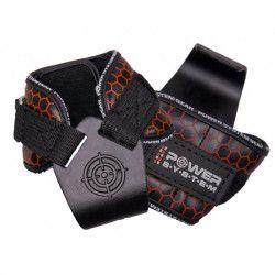 Pereche chingi cu carlig metalic pentru sala de fitness POWER HOOKS PS-3360 marime L rosu Accesorii fitness