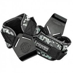 Pereche chingi cu carlig metalic pentru sala de fitness POWER HOOKS PS-3370 marime L gri camuflaj Accesorii fitness