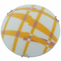 Plafoniera din sticla Model carouri Alba+Portocaliu 25cm Corpuri de iluminat