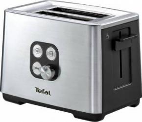 Prajitor de paine Tefal Cube 2S 900W Functie de dezghetare si reincalzire 7 niveluri InoxNegru Prajitoare