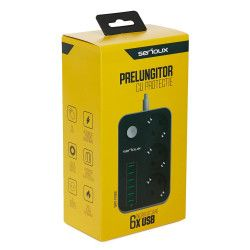 Prelungitor cu protectie 3 prize si 6 porturi USB cablu alimentare 1.6 m