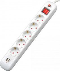 Prelungitor Spacer 5 x prize Schuko 2 x USB 3m 16A Alb