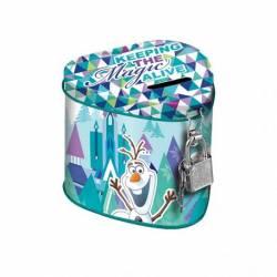 Pusculita Frozen in forma de inimioara metalica cu lacat 10x8 cm