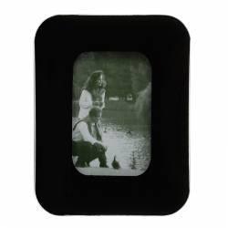 Rama foto Ancona format 10x15 cm sticla bombata negru