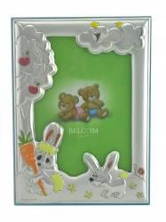 Rama foto argintata pentru copii Belcom albastra cu iepurasi 9x13 cm
