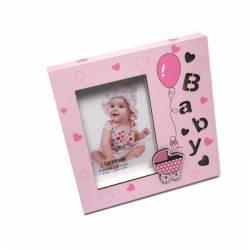 Rama foto Cute Baby iluminata LED format foto 10X15 metalica roz