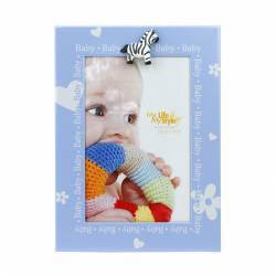 Rama foto decorativa Baby Blue 10x15 cm suport fixare birou albastru