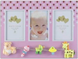 Rama foto multipla Baby Dots 3 poze 6x8 cm figurine metal roz