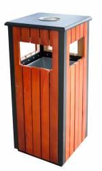 Scrumiera exterioara cu cos gunoi patrat lemn 35x35xh80cm