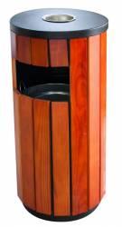 Scrumiera exterioara cu cos gunoi rotund lemn 35x35xh80cm
