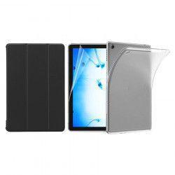 Set 3 in 1 husa carte husa silicon si folie protectie ecran pentru Huawei MediaPad M5 Lite 10.1 inch negru