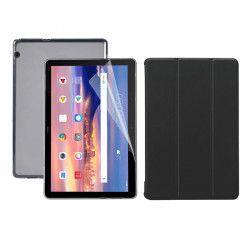 Set 3 in 1 husa carte husa silicon si folie protectie ecran pentru Huawei MediaPad T3 10 9.6 inch negru