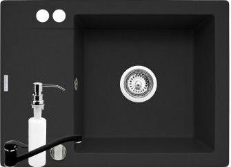 Set 3in1 Pyramis Cristal MINI baterie si dozator detergent 620x460mm adancime 190mm cuva dreapta Pyragranite carbon