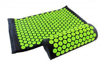 Set acupunctura si masaj saltea si perna ideal pentru dureri de spate relaxare oboseala culoare negru/verde Accesorii fitness