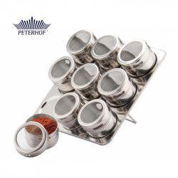 Set Condimente cu Suport Magnetic Claudio Peterhof 9 Recipiente 10 piese Sticla Inox Accesorii bucatarie