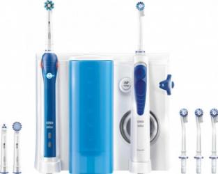 Set ingijire dentara Oral B Periuta electrica PRO 2000 8.800 oscilatii/min Alb Albastru + Irigator bucal Oxyjet 600 ml Alb Albastru