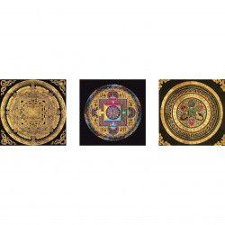 Set tablouri Canvas 3 piese Sand painting Mandala 135 x 45 cm Rama lemn Multicolor Tablouri