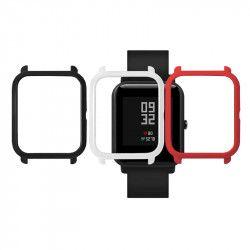 Set 3 huse din PU tip rama ecran pentru Xiaomi Huami Amazfit Bip / Bit Place Lite Youth negru alb rosu