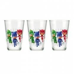Set 3 pahare sticla PJ Masks 23.7 cl Cani, pahare, accesorii masa