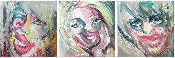 Set 3 tablouri abstracte Chipuri 30 x 90cm pictat manual de DOBOS Tablouri