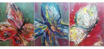 Set 3 tablouri abstracte Fluturi in stomac 75 x 30cm pictat manual de DOBOS Tablouri