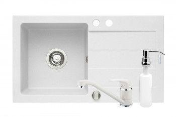 Set 3IN 1 PYRAMIS ST 760x440mmm adancime 170mm baterie pipa lunga si dozator detergent finisaj Pyragranite alb