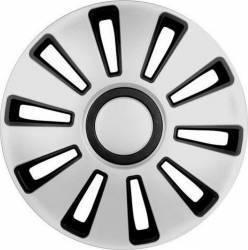 Set 4 capace roata 16 inch SILVERSTONE argintiu cu negru Lampa Scule auto and Accesorii