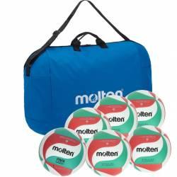 Set 6 mingi volei antrenament si competitie Molten PRO geanta de transport