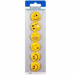 Set magneti Emoji 6 emoticoane Smiley Face 30mm galben