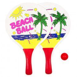 Set palete de lemn Beach Ball cu minge rosie de tenus de masa 40 cm