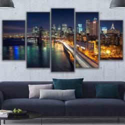 Set tablou Canvas peisaj urban 5 piese 30 x 50 cm 30 x 70 cm 30 x 80 cm Tablouri