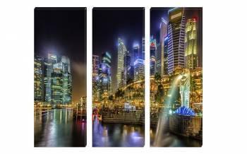 Set Tablouri Multicanvas 3 Piese Oras cu Lumini - 150 x 70 cm Tablouri