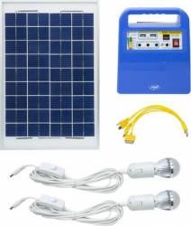Sistem solar fotovoltaic PNI GreenHouse H01 30W cu acumulator 12V 7Ah USB Radio MP3 2 becuri LED