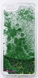 Skin Tellur pentru iPhone 6-6S Plus cu Lichid si Sclipici Verde