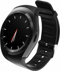Smartwatch Media Tech Round Watch GSM 2G Bluetooth 3.0 Pedometru Monitorizare Somn Compatibil Android 4.4 Negru Smartwatch