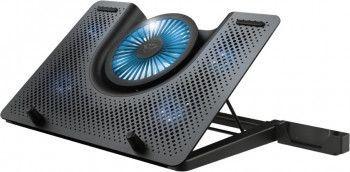 Stand Cooler Laptop Trust GXT 1125 Quno 5x Ventilatoare LED Albastru Reglaj inaltime in 5 trepte Suport telefon Max 17.3inch Negru