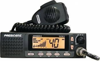 Statie radio CB President Johnson II ASC 12V 24V cu squelch automat si difuzor frontal 4W
