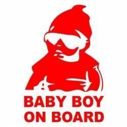 Sticker auto Baby Boy On Board culoare rosie Cadouri