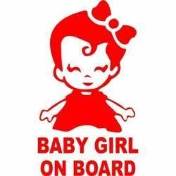 Sticker auto Baby Girl on Board culoare rosie Cadouri