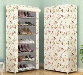 Suport pantofi dulap modern 21 perechi 7 rafturi cadru otel invelis textil alb cu flori